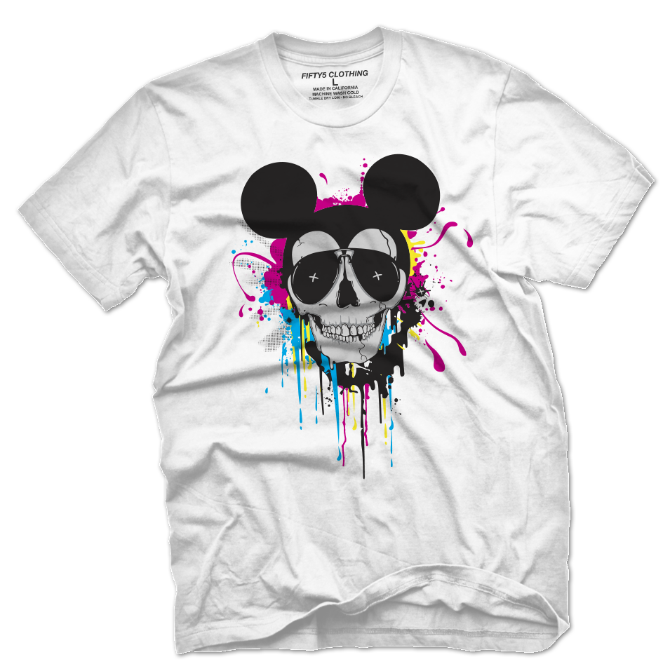 Mickey Skull CMYK Men's T Shirt