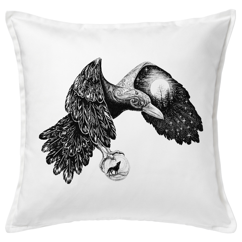 Moon Raven 20x20 Throw Cushion