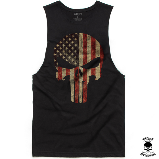Fifty5 American Flag Punisher Skull Mens Muscle Tank