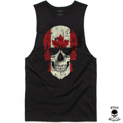 Fifty5 Canadian Flag Skull Mens Muscle Tank