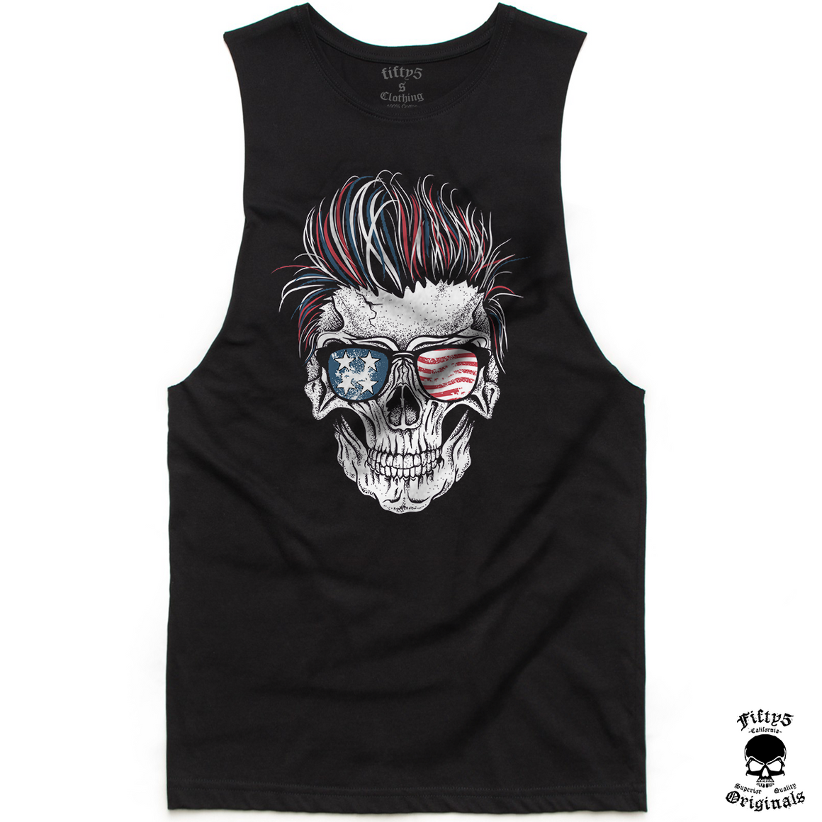 Patriotic Rocker Skull Mens Muscle Tank