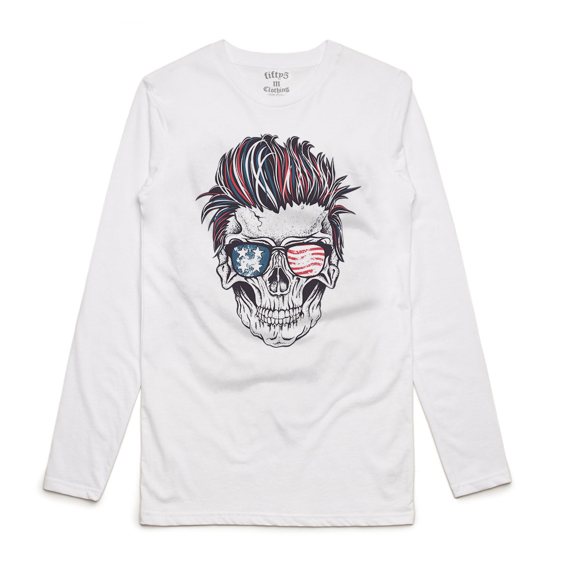 Patriotic Rocker Skull Mens Long Sleeve T-Shirt