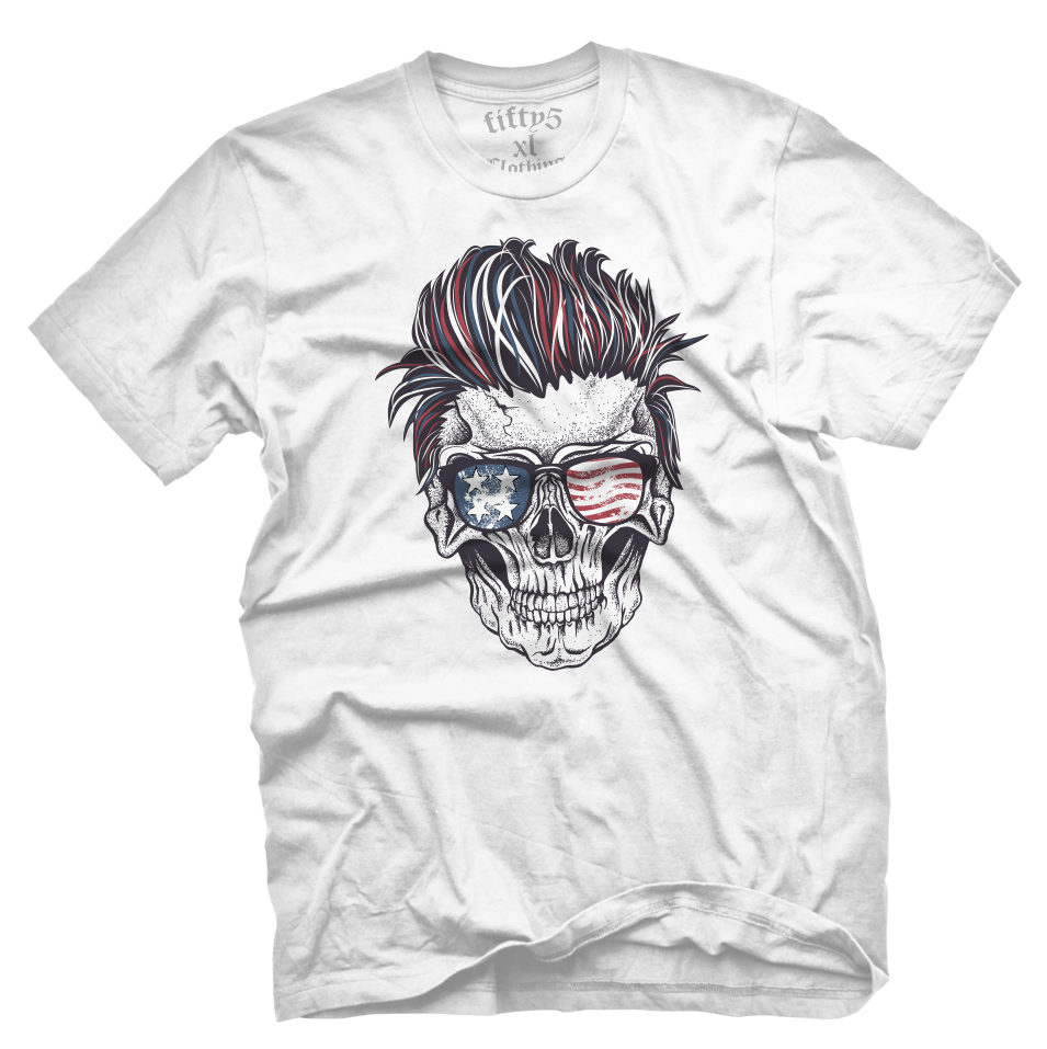 Patriotic Rocker Skull Men's T Shirt