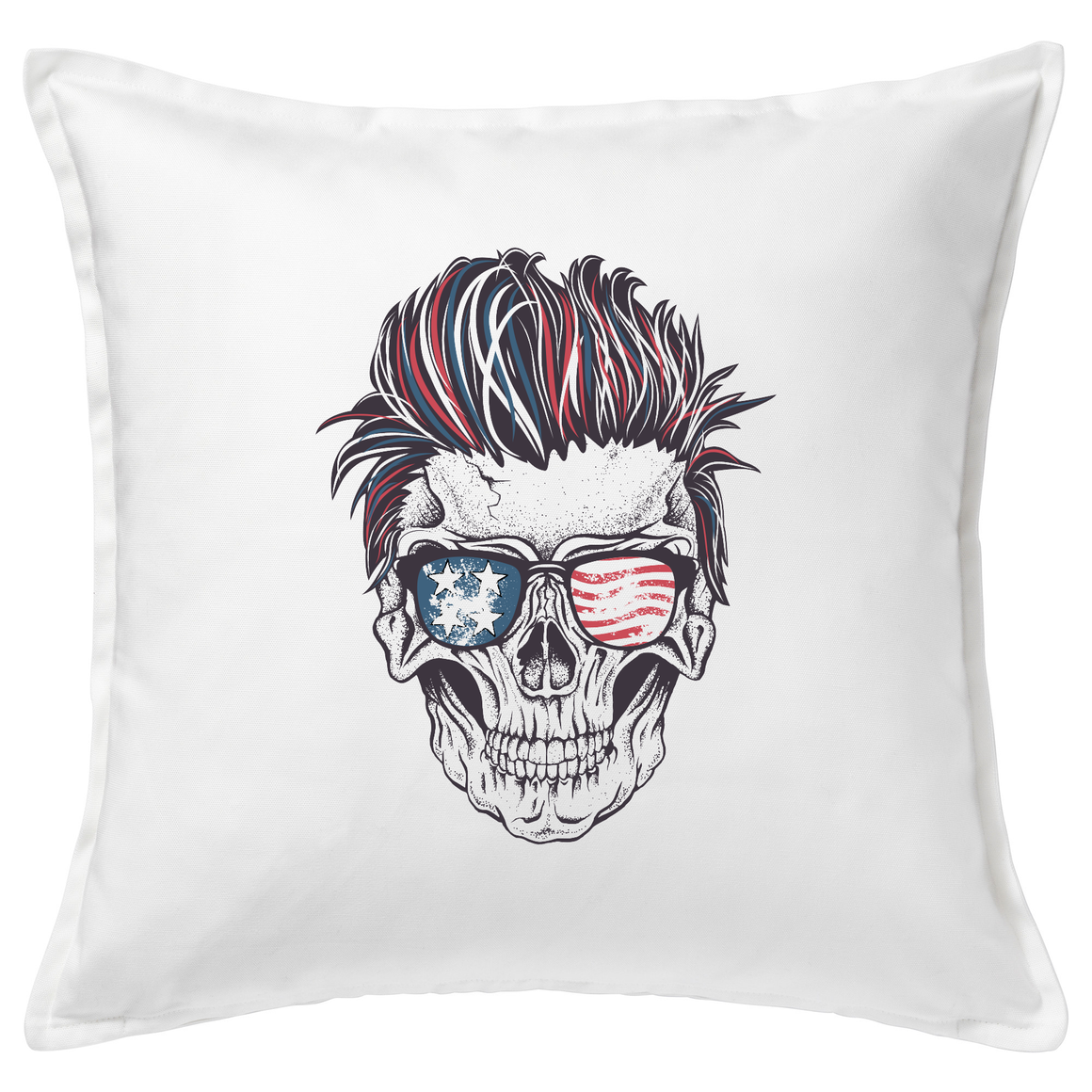 Patriotic Rocker Skull Cushion Cover