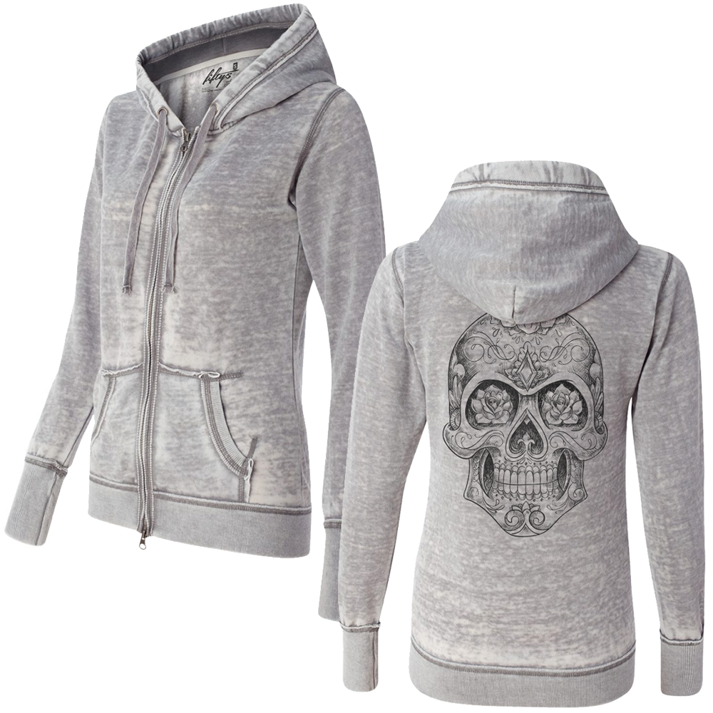 Women's Sugar Skull Sketch Super Soft Burnout Zip Up Hoodie