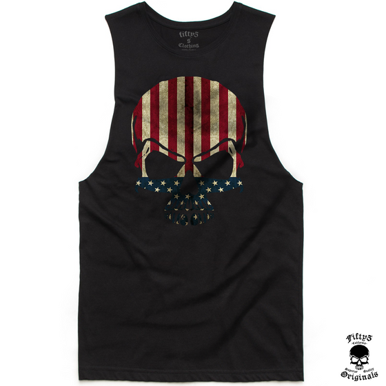 Stars and Stripes Flag Skull Mens Muscle Tank
