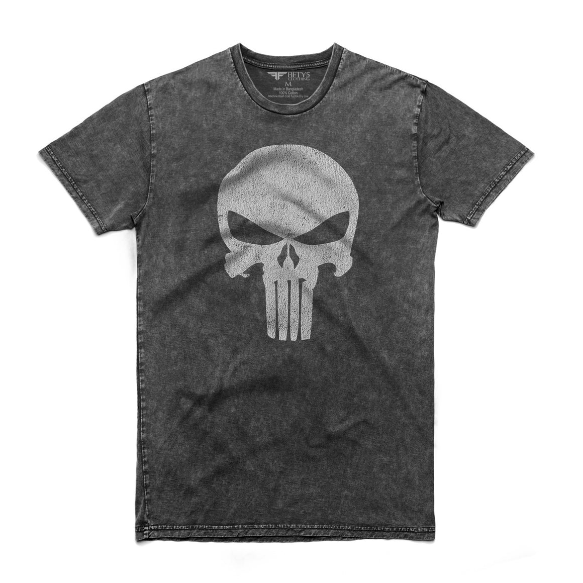 Punisher Skull Men's Stone Wash T Shirt