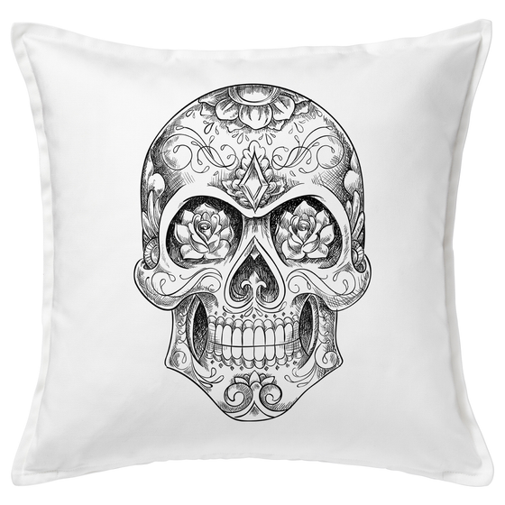 Sugar Skull Sketch 20x20 Throw Cushion
