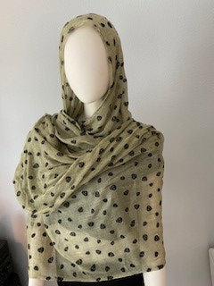 Women's Tan W/Black Skulls Scarf, Pashmina, Neck/head Wrap, Shawl