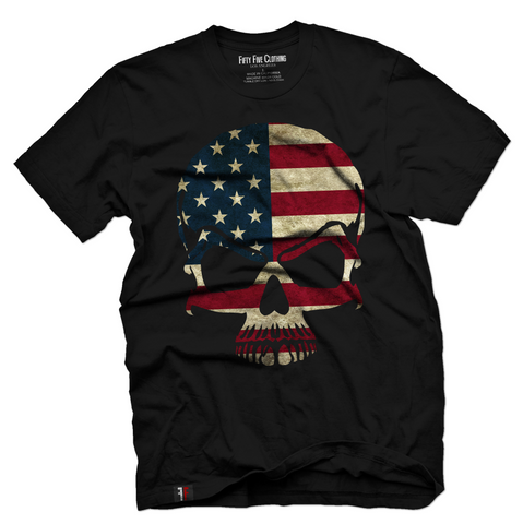 American Flag Skull Men's T Shirt