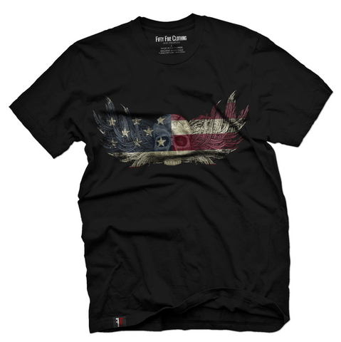 American Flag Skull Wings Vintage Men's T Shirt