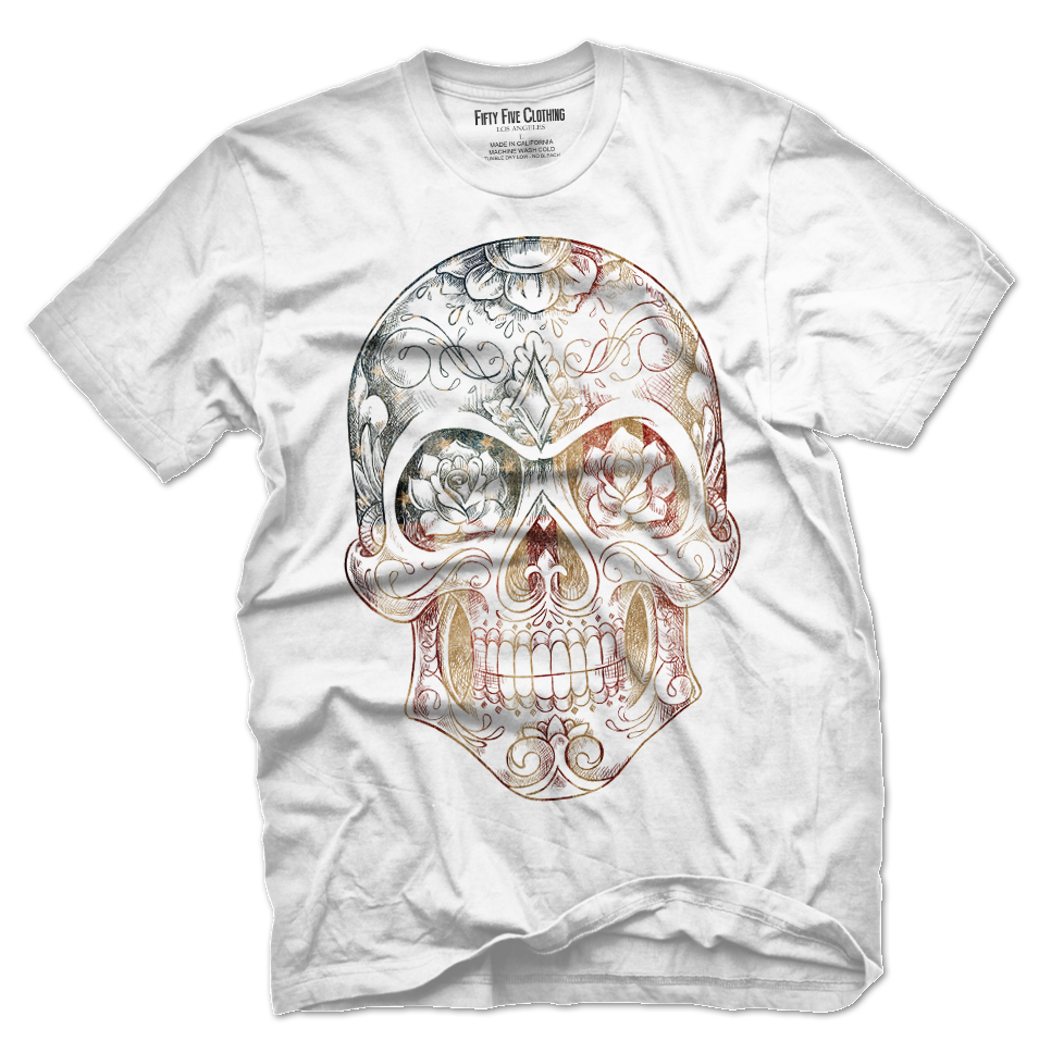 US Flag Sugar Skull Vintage Men's T Shirt
