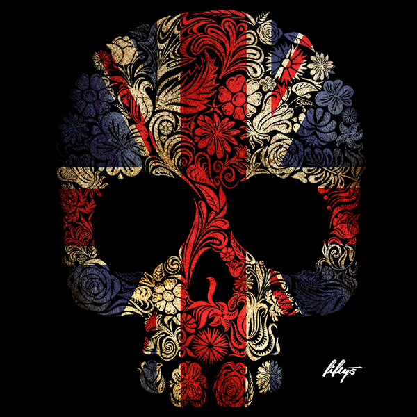Union Jack Floral Skull Women's T Shirt