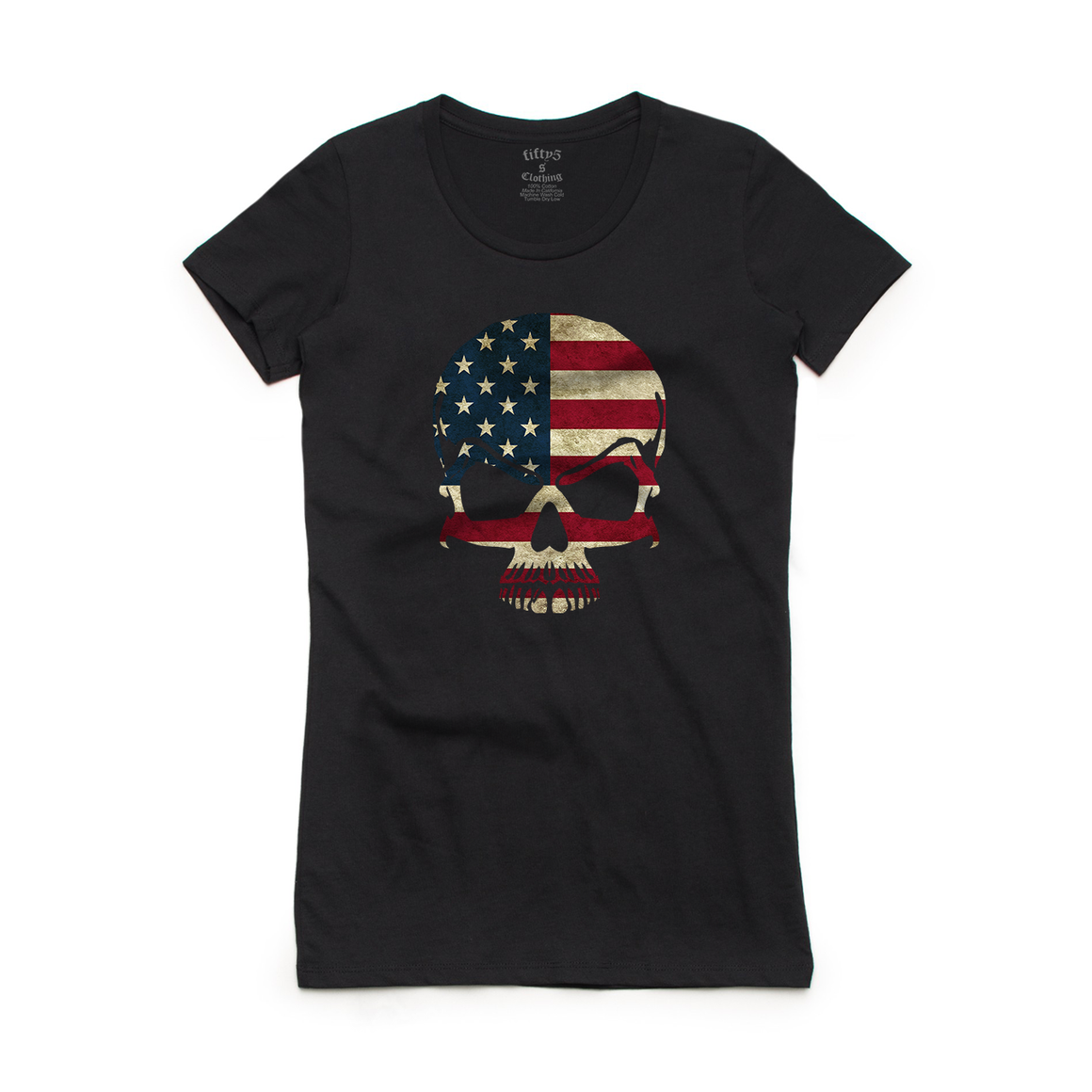 Fifty5 Clothing American Flag Skull Women's Crew Neck T-Shirt