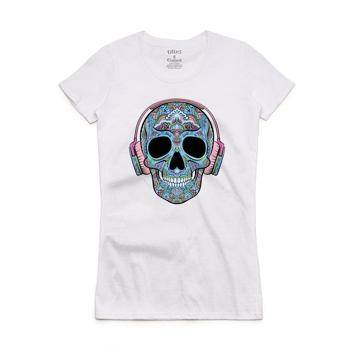 Fifty5 Clothing Blue Sugar Skull in Headphones Women's Crew Neck T-Shirt