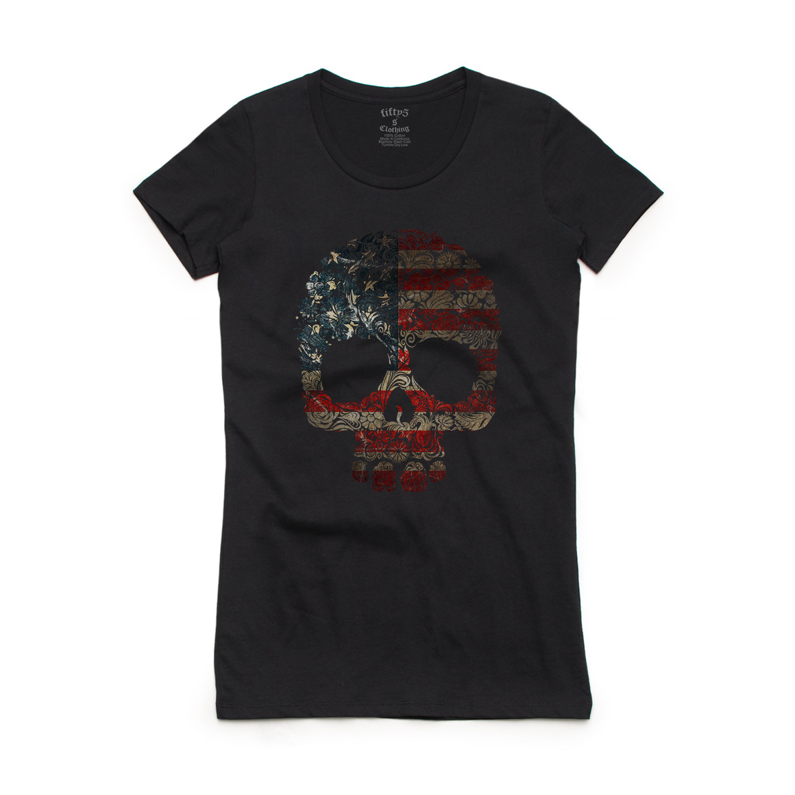 Fifty5 Clothing Floral Flag Skull Women's Crew Neck T-Shirt