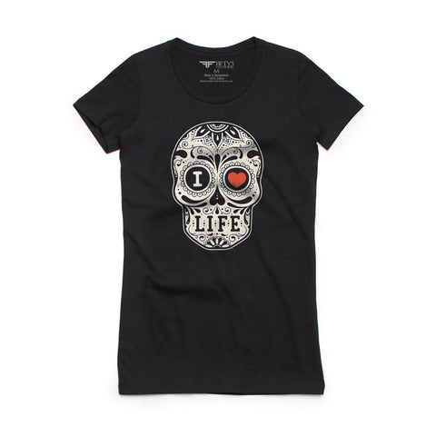Fifty5 Clothing I Love Life Sugar Skull Women's Crew Neck T-Shirt