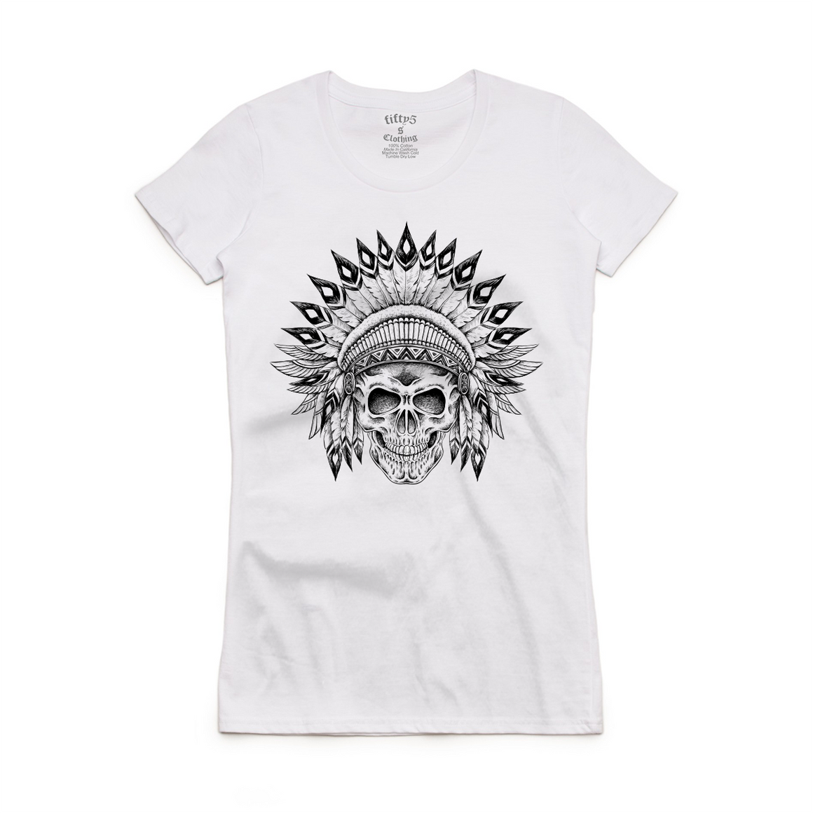 Fifty5 Clothing Indian Chief Skull Women's Crew Neck T-Shirt
