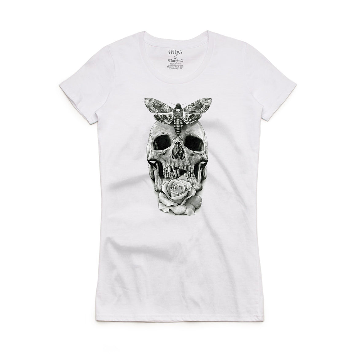 Fifty5 Clothing Moth Skull Women's Crew Neck T-Shirt