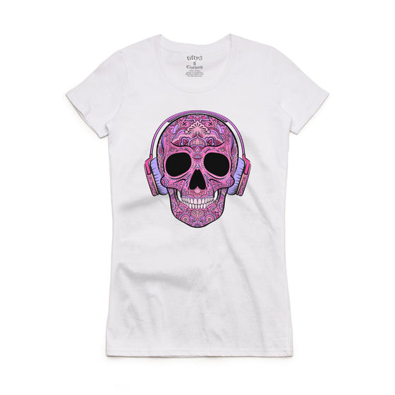 Fifty5 Clothing Pink Sugar Skull in Headphones Women's Crew Neck T-Shirt