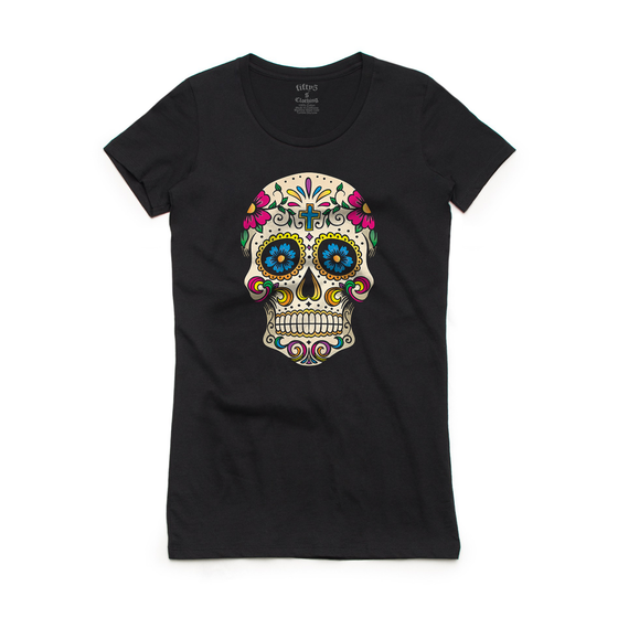Fifty5 Clothing Psychedelic Sugar Skull Women's Crew Neck T-Shirt