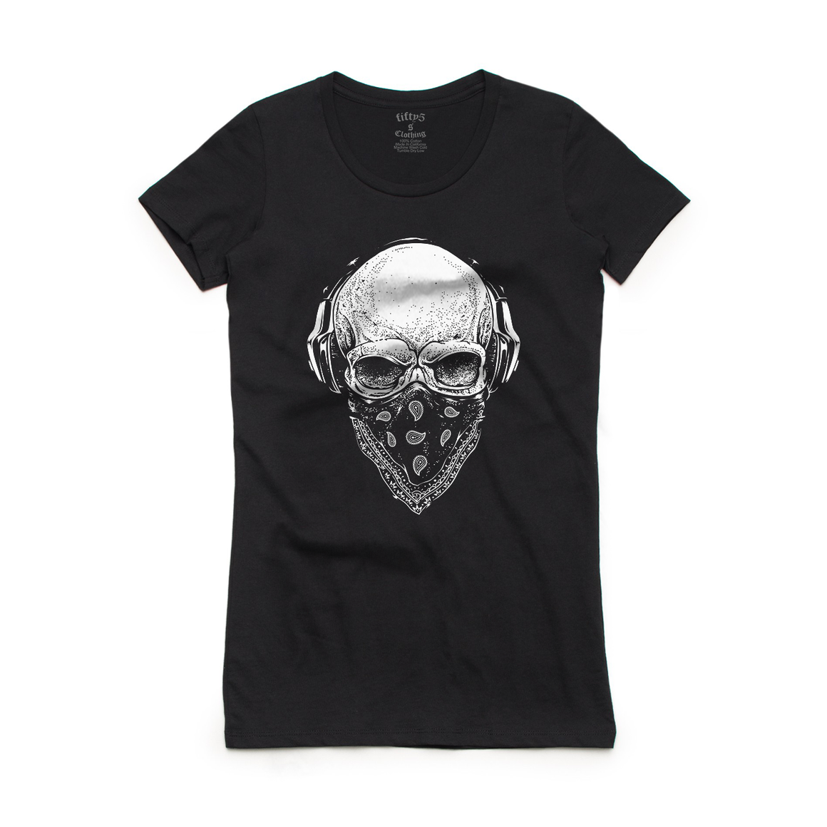 Fifty5 Clothing Skull Tunes Women's Crew Neck T-Shirt