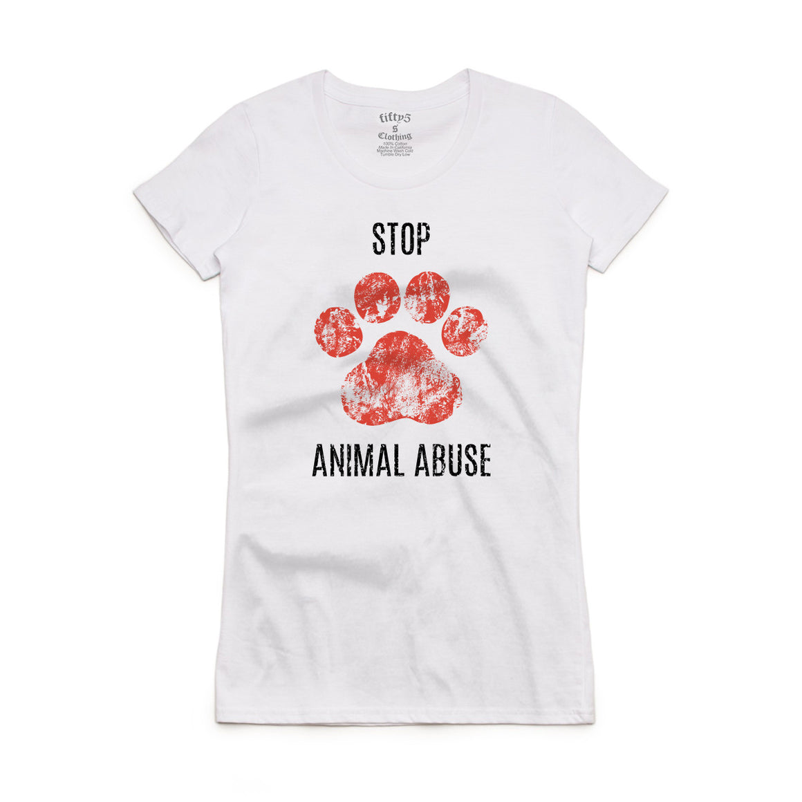 Fifty5 Clothing Stop Animal Abuse Women's Crew Neck T-Shirt