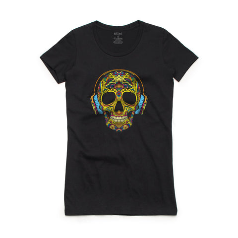 Fifty5 Clothing Yellow Sugar Skull in Headphones Women's Crew Neck T-Shirt