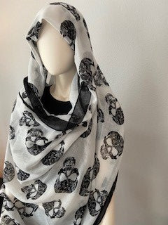 Women's White W/Black Sugar Skulls Scarf, Pashmina, Neck/head Wrap, Shawl