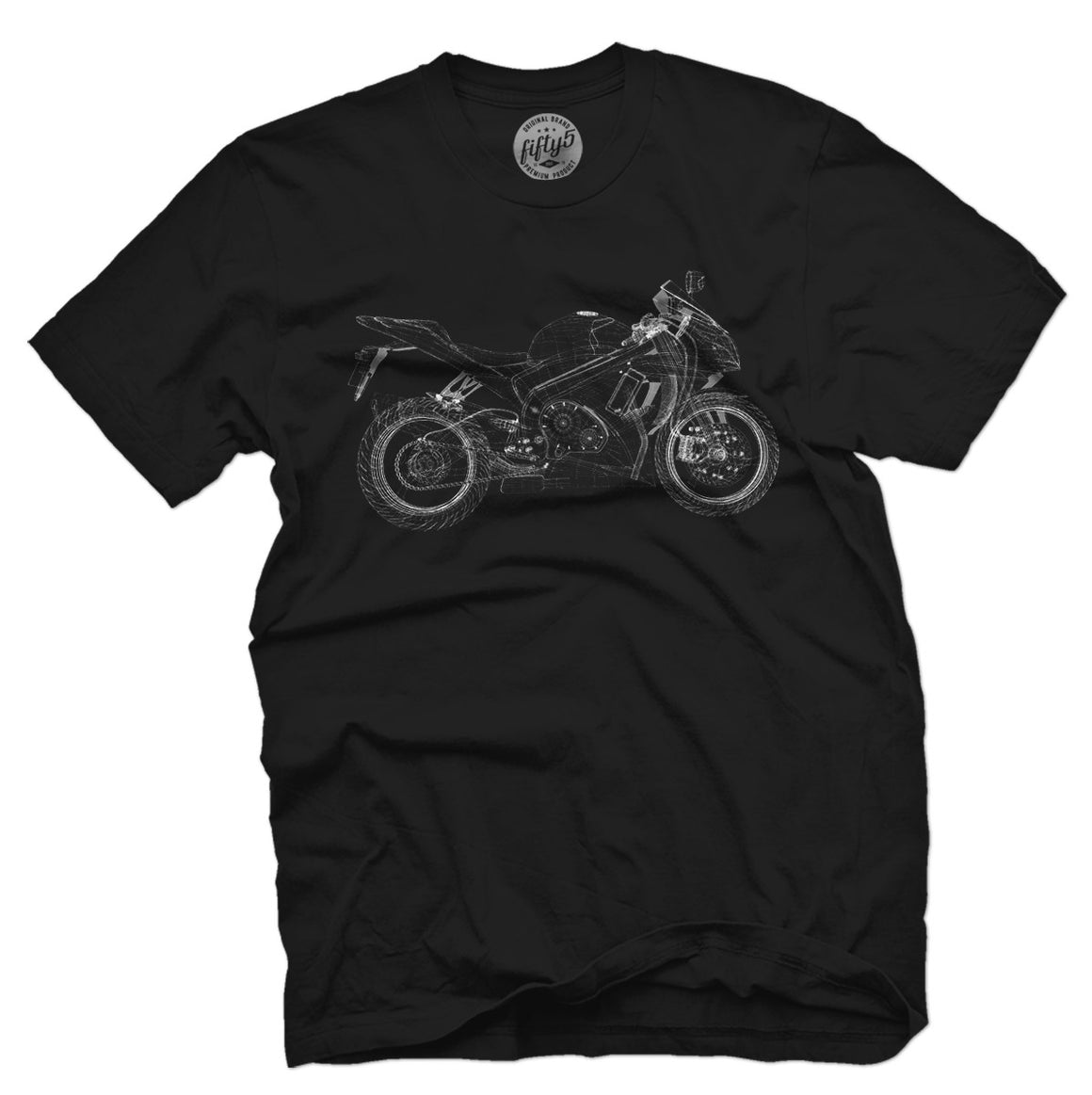 Fifty5 Clothing Wireframe Motorcycle Men's T Shirt