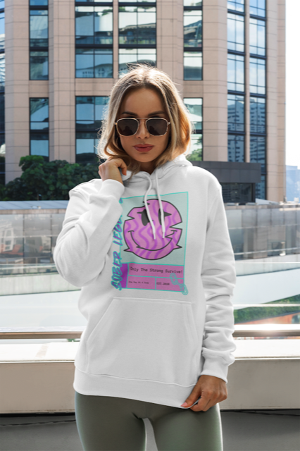 """One Day At A Time"" Mid Weight Pullover Hoodie White"