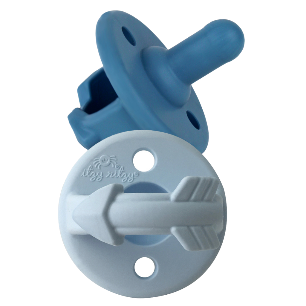 Itzy Ritzy - Blue Arrow Sweetie Soother™ Pacifier Set - Monogram Gifts