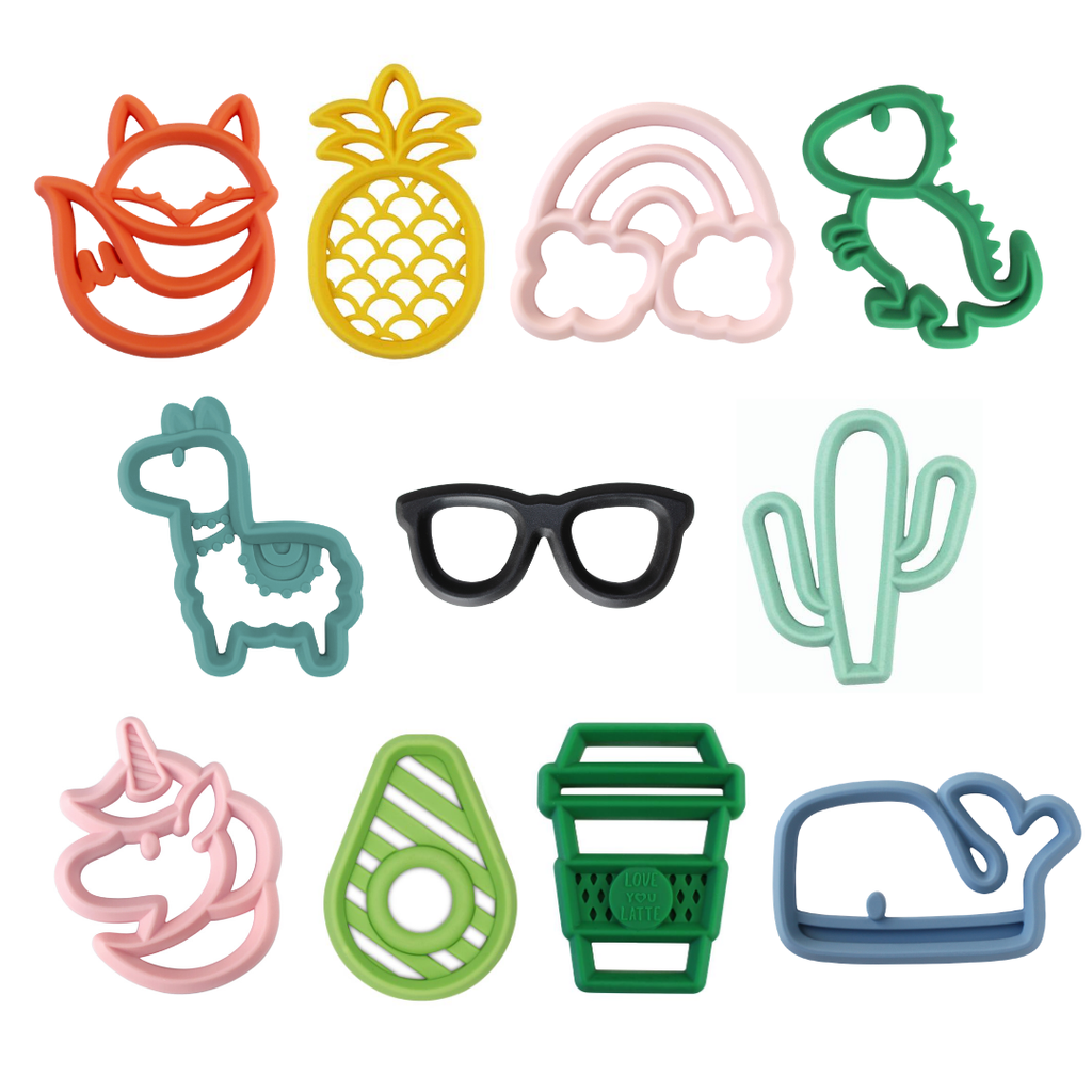 Itzy Ritzy - Chew Crew™ Silicone Baby Teethers - Monogram Gifts