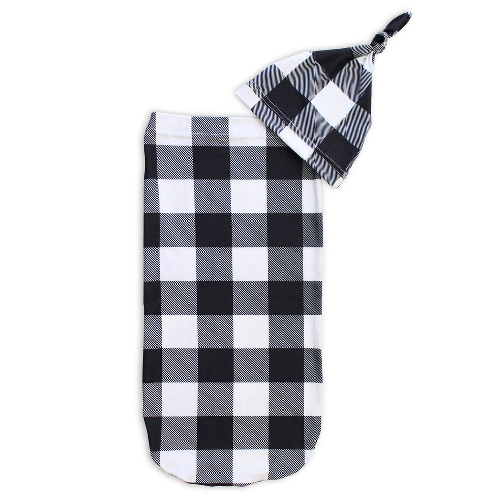 Itzy Ritzy - Preorder Black + White Gingham Cutie Cocoon™ + Hat Set - Monogram Gifts