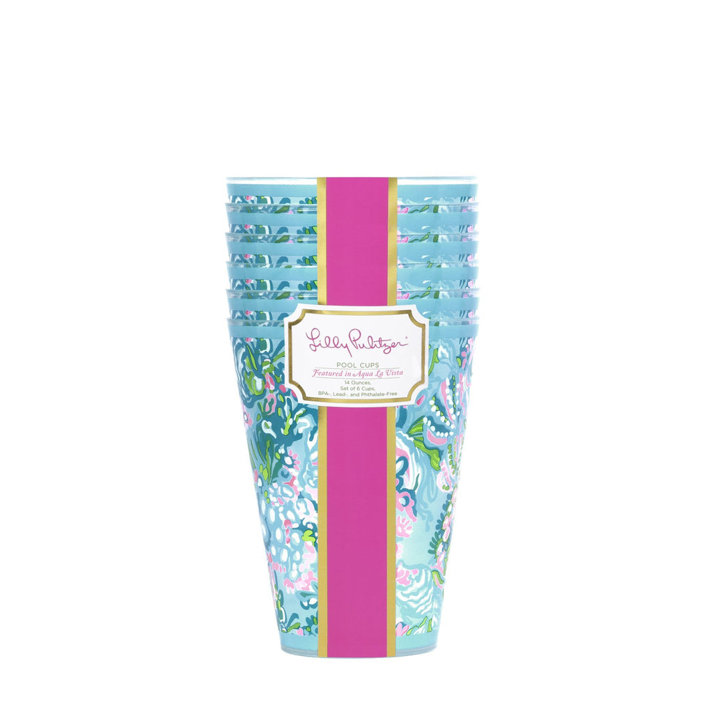 Lilly Pulitzer Pool Cups, Aqua La Vista - Monogram Gifts