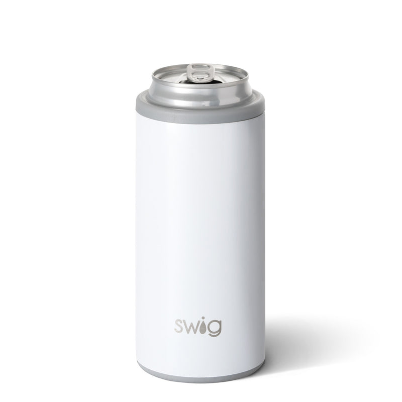 SWIG 12oz Skinny Can Cooler, Diamond White - Monogram Gifts