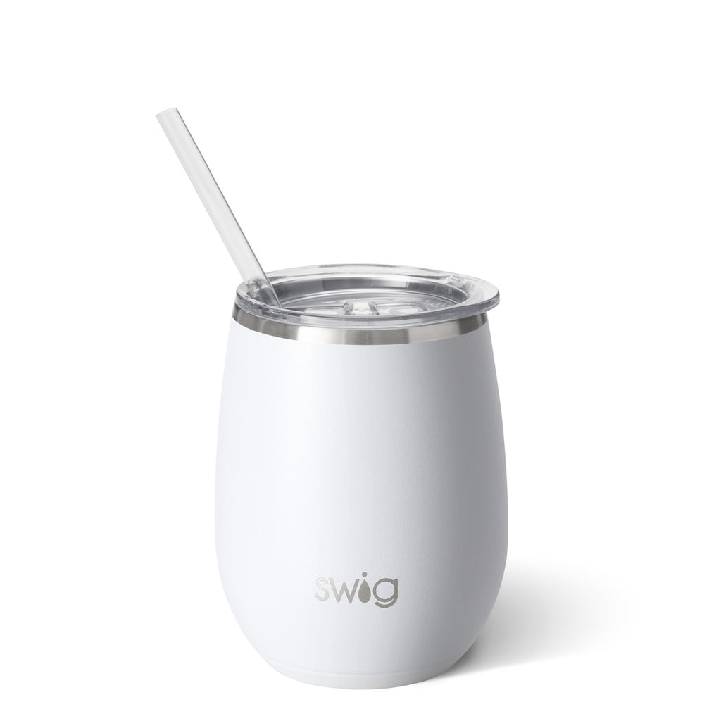 SWIG - 14 oz Stemless Wine Cup, Matte White - Monogram Gifts