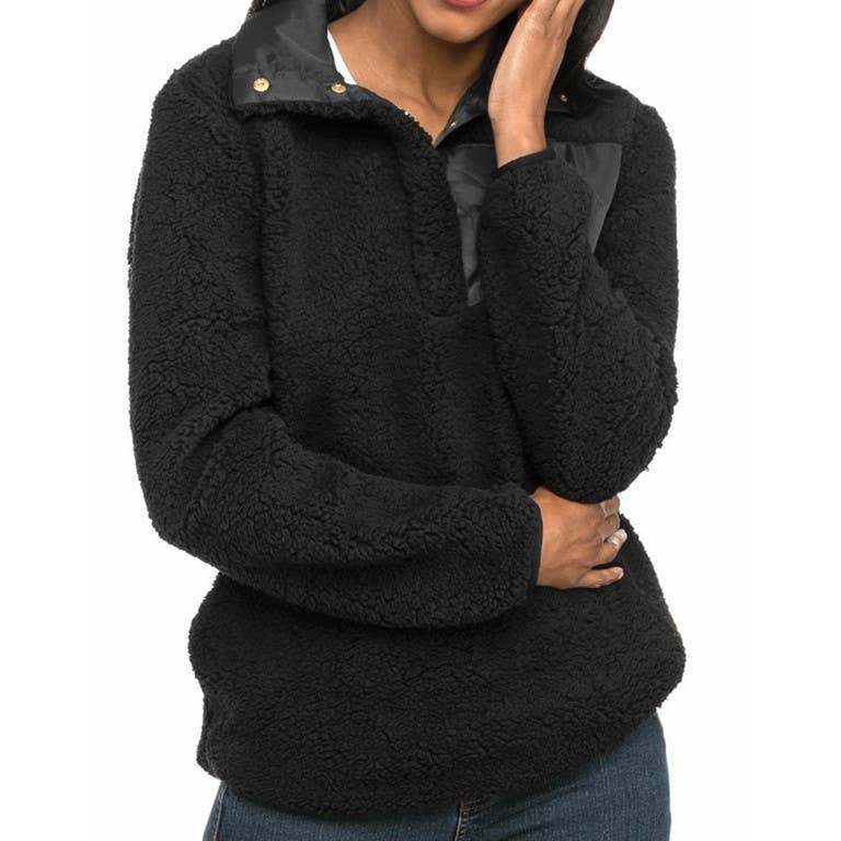 Black Sherpa Pullover w/Monogram Patch