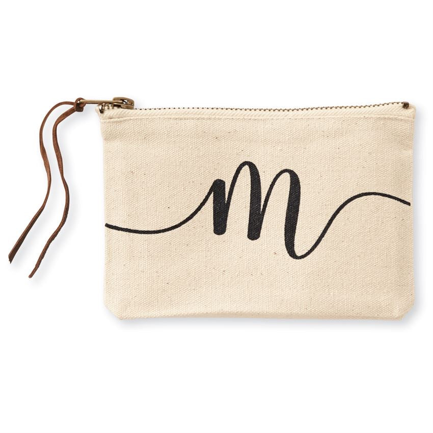 Mud Pie Initial Canvas Cosmetic Bag - Monogram Gifts