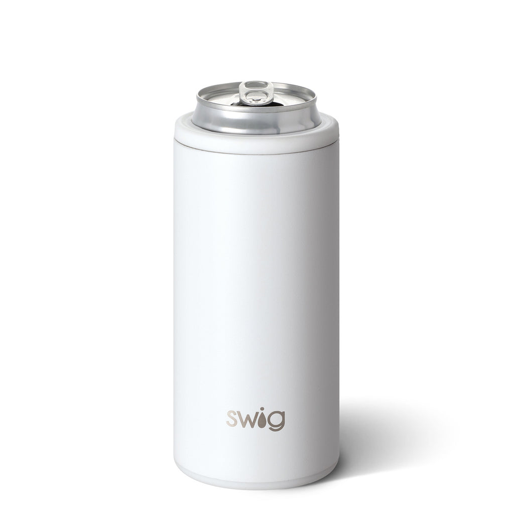 SWIG 12oz Skinny Can Cooler, Matte White - Monogram Gifts