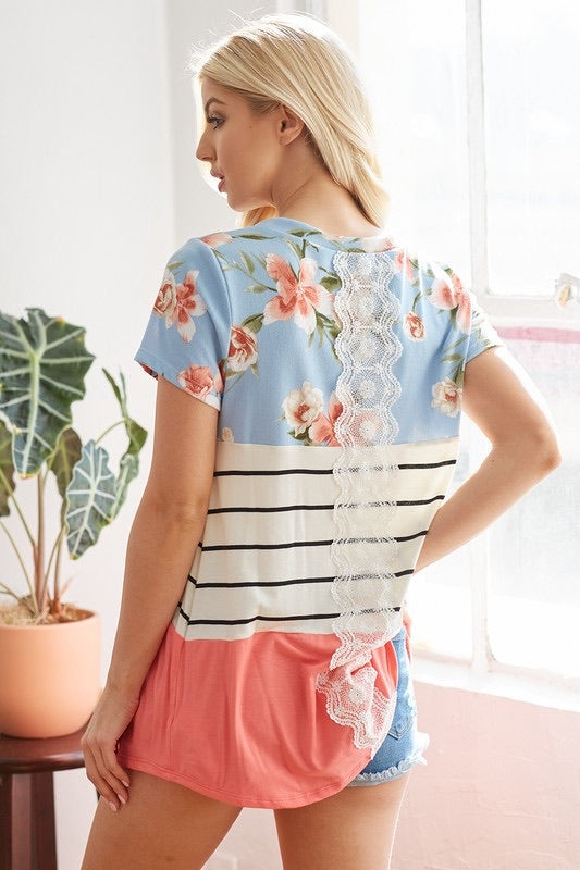Back Lace Trim w/Floral Color Block Top - Monogram Market