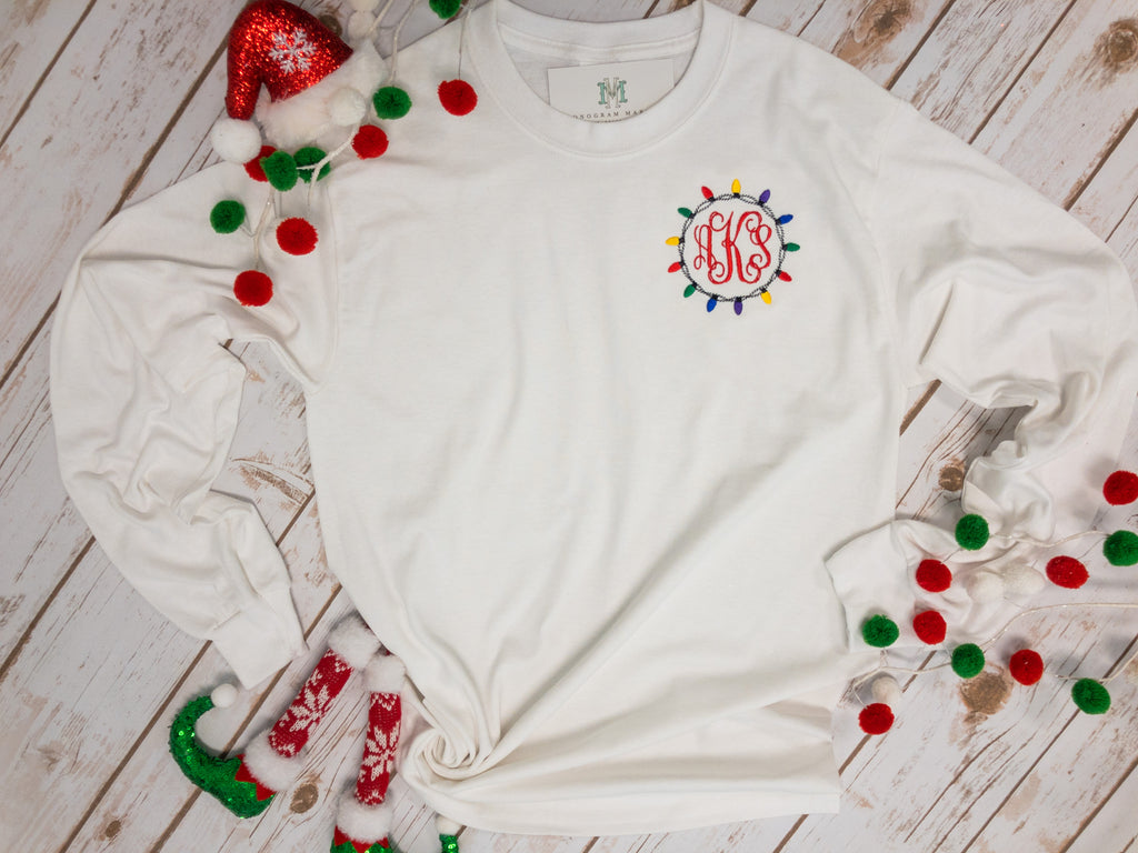 Monogram Market's Monogram Tee, Christmas Lights - Monogram Gifts