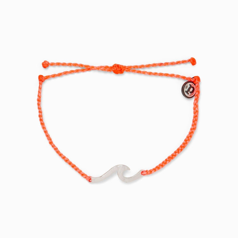 PuraVida, Hammered Wave Silver Bracelet, Strawberry - Monogram Market