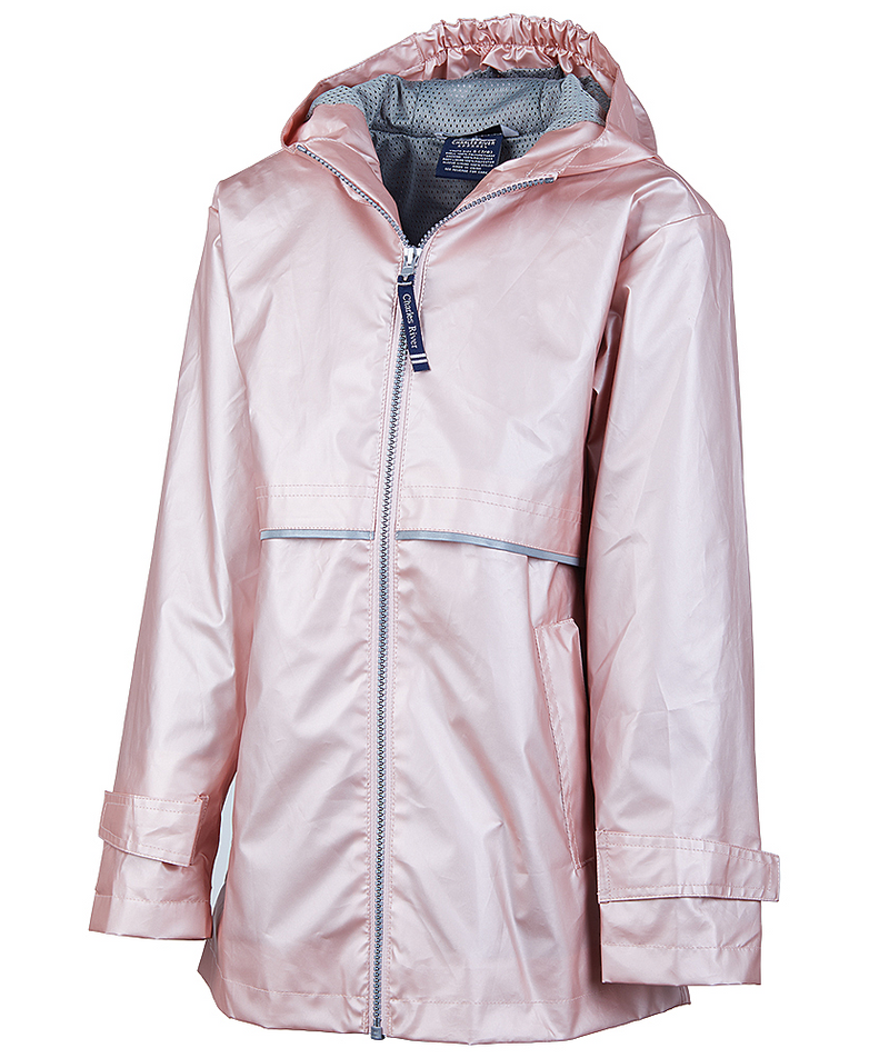 Charles River GIRLS New Englander Rain Jacket, Rose Gold
