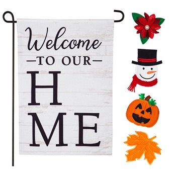 Welcome to Our Home Interchangeable Holiday Garden Linen Flag