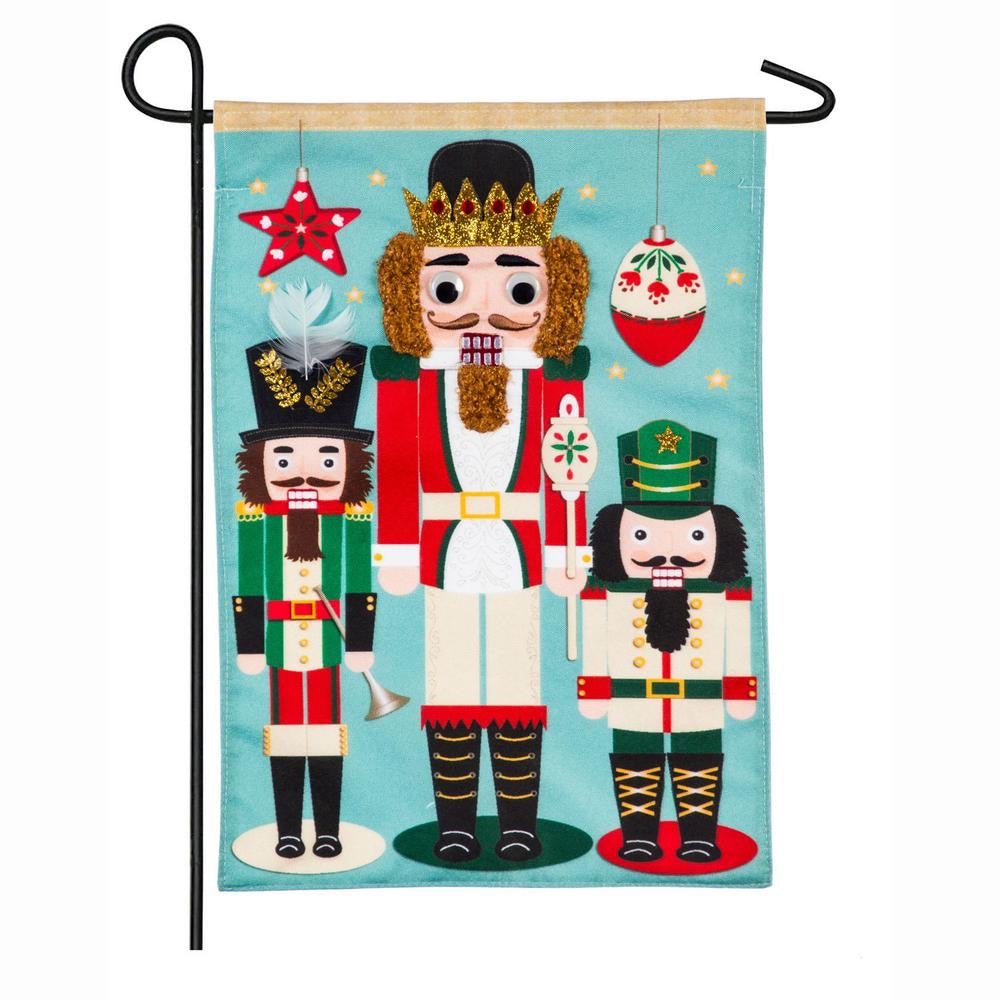 Nutcracker Trio Garden Linen Flag