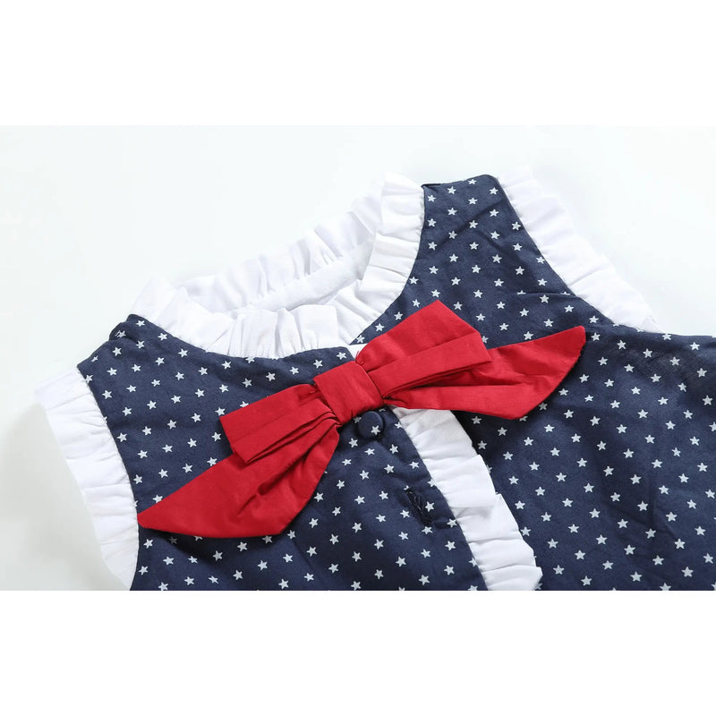 Baby/Toddler Navy Americana Bows Top and Ruffle Set - Monogram Market