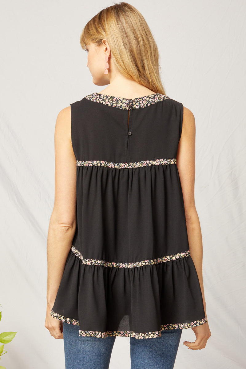 Black Ruffled Tiered Top - Monogram Market