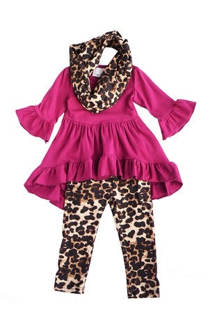 Fushisia Tunic w/Leopard Pants and Infinity Scarf - 3 Piece Set - Monogram Gifts
