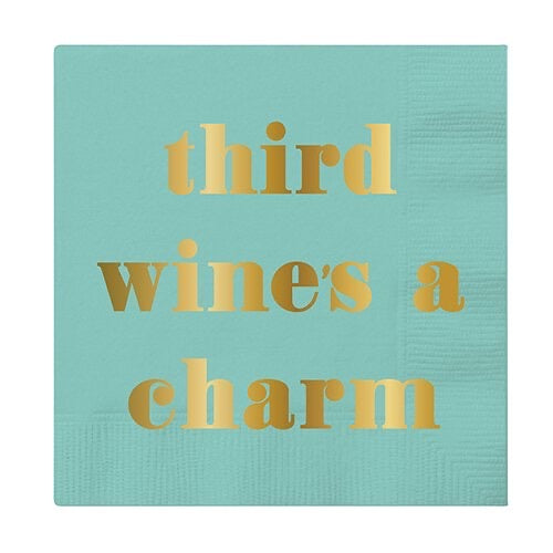 """Third Wine's a Charm"" Cocktail Napkins - Monogram Market"
